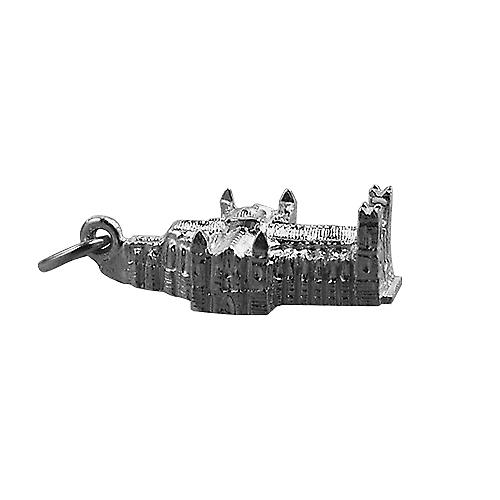 Silver 11x17mm hollow Westminster Abbey Pendant or Charm