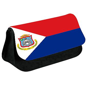 Sint Maarten Flag Printed Design Pencil Case for Stationary/Cosmetic - 0231 (Black) by i-Tronixs
