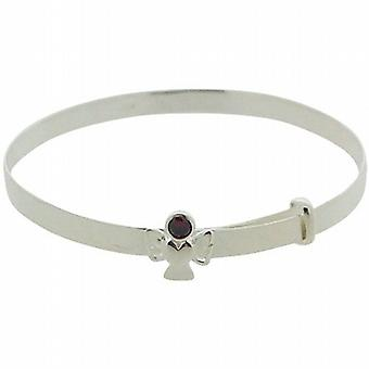 Jo For Girls Sterling Silver 925 January Birthstone Red Rhinestone Angel Bangle