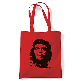 Che Guevara Retro Political Tote | Che Guevara Argentine Revolution Cuban Rebellion Icon Motorcycle Diaries Castro| Reusable Shopping Cotton Canvas Long Handled Natural Shopper Eco-Friendly Fashion