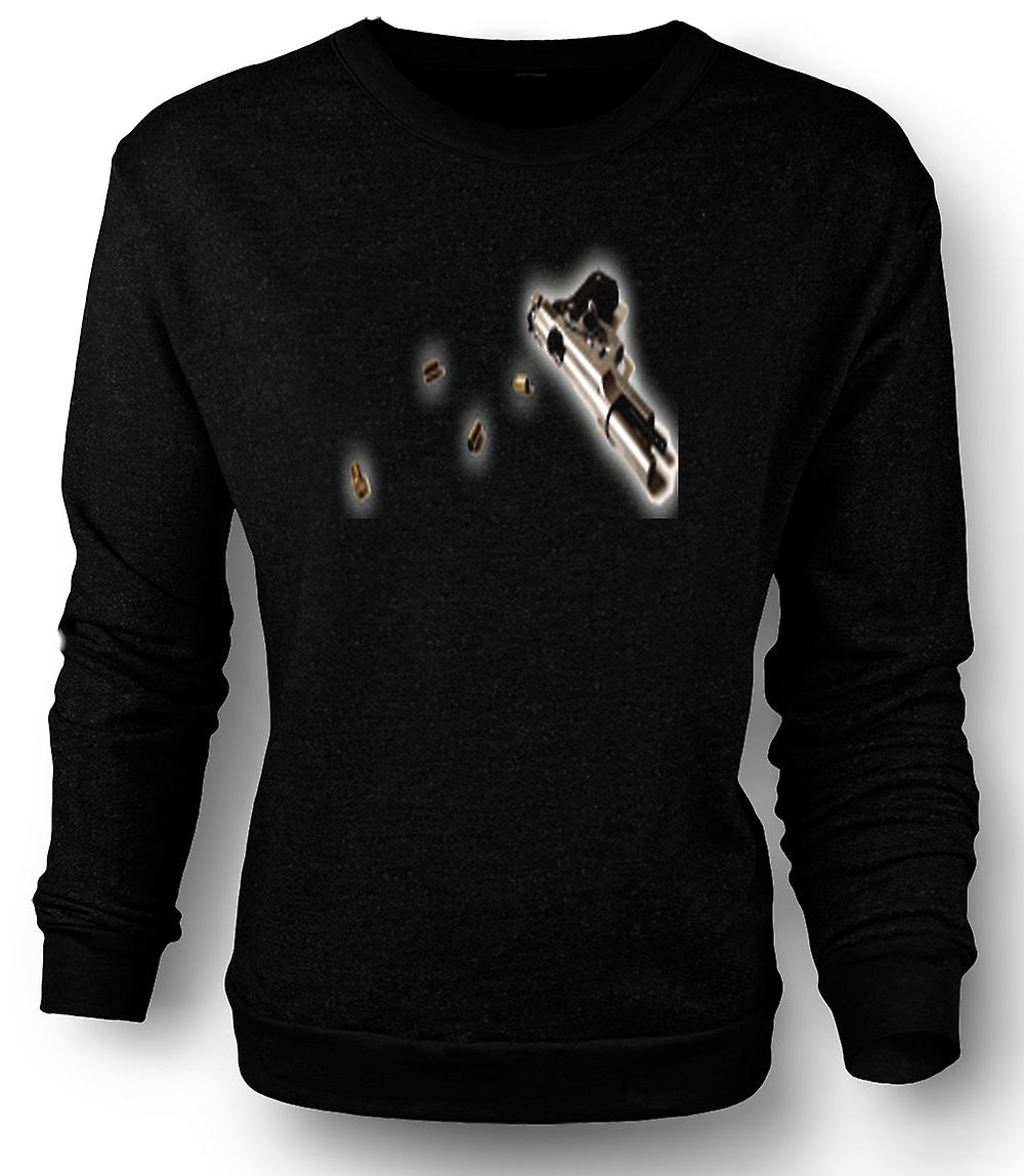 Mens Sweatshirt Hand Gun Pistol With Bullets