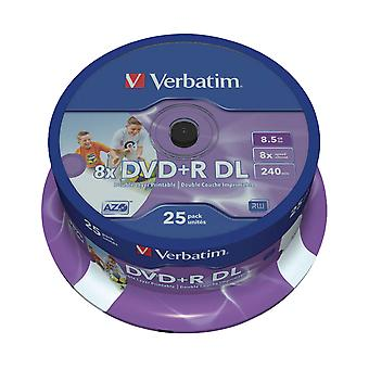 Verbatim 43667 8.5GB 8x Double Layer DVD+R Inkjet Printable - 25 Pack Spindle