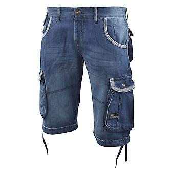 Mens cargo shorts crosshatch denim combat summer short newberg