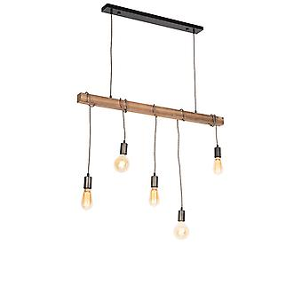 QAZQA Industrial hanging lamp black with wood 5-light - Gallow