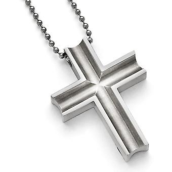 Titanium Polished Cross Necklace - 24 Inch