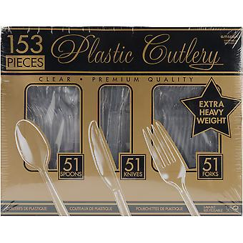 Premium Heavy Weight Plastic Cutlery Set 153 Pkg Clear 4390786