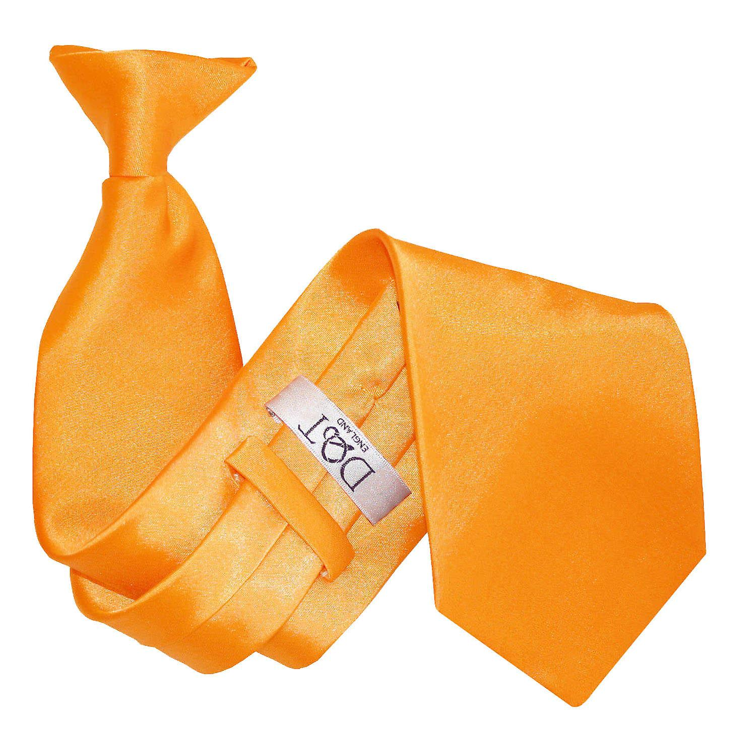 Plain Fluorescent Orange Satin Clip On Tie