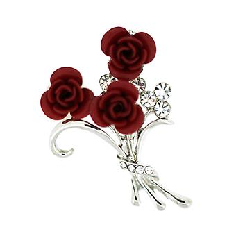 Broscher Store litet knippe 3 röda rosor blomma bukett brosch Silver