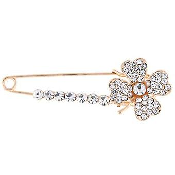 Brooches Store Gold and Clear Crystal Clover Shamrock Safety Pin Brooch