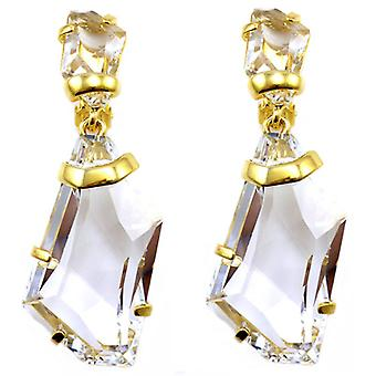 Kenneth Jay Lane Grand clip Facet Cristal et Or Goutte Boucles d'oreilles