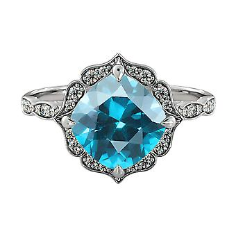14K White Gold 1.25 ctw Blue Topaz Ring with Diamonds Flower Leaves Halo