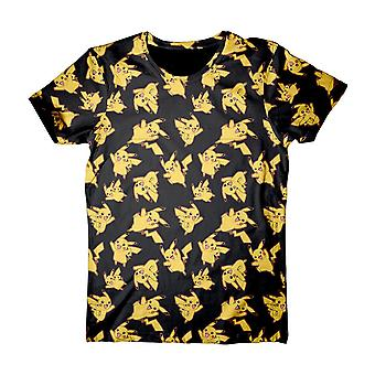 Pokemon voksne mandlige Pikachu All-Over Print T-Shirt ekstra stor sort (TS120308POK-XL)