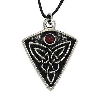 Handmade Pictish Celtic St. Ninian's Goddess Knot Pewter Pendant ~ Red Glass