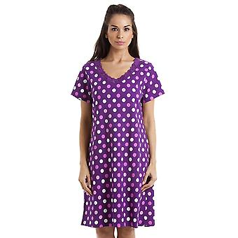 Camille Multi-Coloured Polka Dot Dark Purple Cotton Nightdress