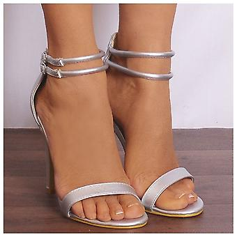 Shoe Closet Silver Strappy Heels - Ladies Ed1 Silver Metallic Strappy Sandals Peep Toes High Heels