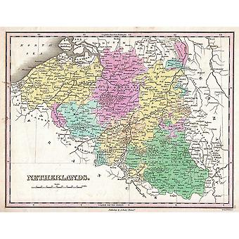 Belgium and Luxembourg Map Finley 1827 Poster Print Giclee