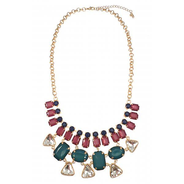 W.A.T Matt Gold Style Blue Green And Mauve Crystal Statement Necklace
