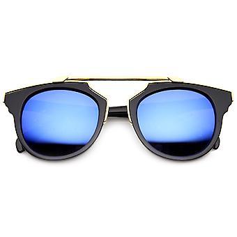 Premium Retro Cross Bar Flash Lens Bridgeless Sunglasses