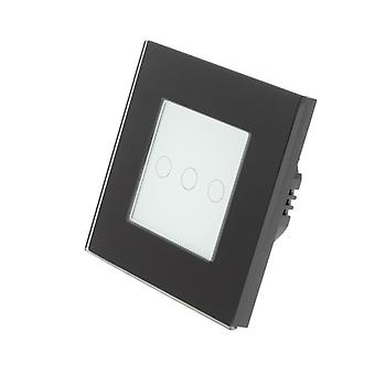 I LumoS Black Glass Frame 3 Gang 1 Way Remote Touch LED Light Switch White Insert