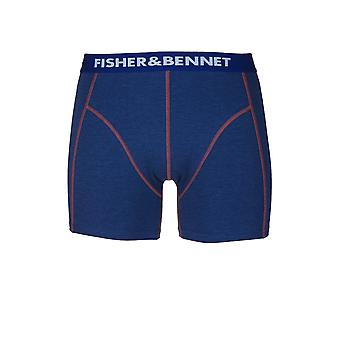 Fisher & Bennet Fisher And Bennet Mens Cotton Stretch Denim Blue Boxer Shorts