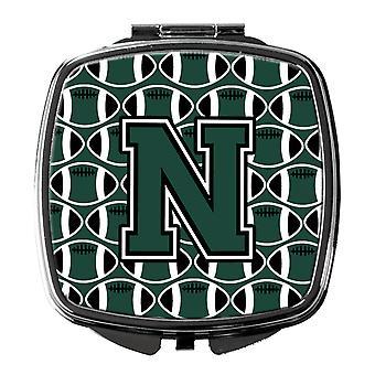 Buchstabe N Fußball grün und weiß Taschenspiegel