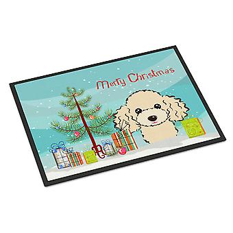 Christmas Tree and Buff Poodle Indoor or Outdoor Mat 18x27