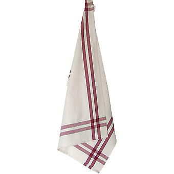 Cream Towel with Cranberry & Green Stripes 20