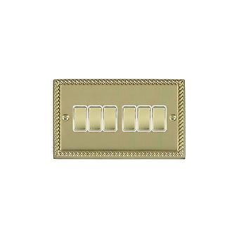 Hamilton Litestat Cheriton Georgian Polished Brass 6g 10AX 2 Way Rkr PB/WH