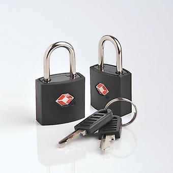 2 padlocks TSA. Blacks. (2xTSA identi lock)