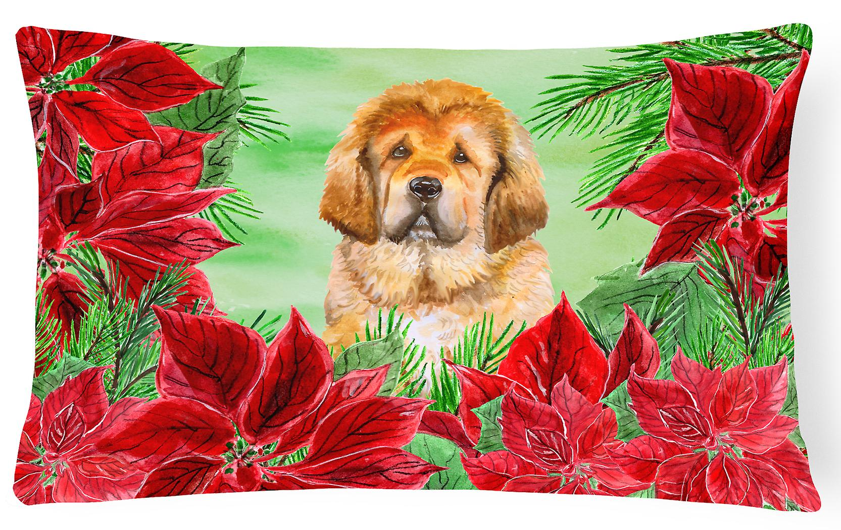 Mastiff Decorative Canvas Tibetan Pillow Poinsettas Fabric 5LqARj34