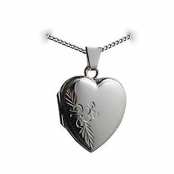 Silber 21x19mm handgravierte Medaillon in Herzform mit einem Bordstein Kette 18 Zoll
