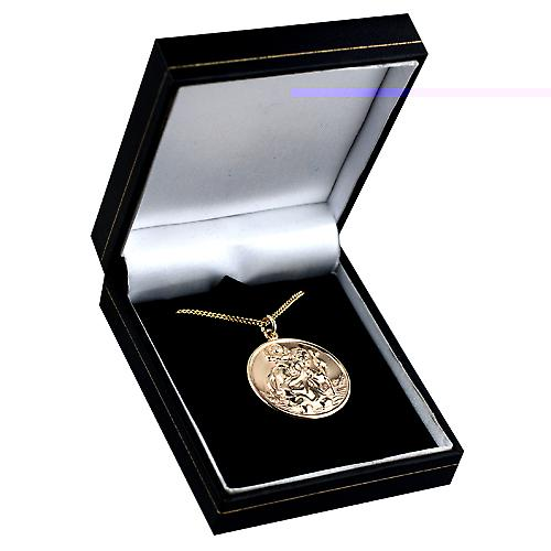 9ct Gold 30mm round St Christopher Pendant with a curb Chain 16 inches Only Suitable for Children