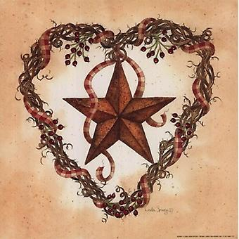 Barn Star with Heart Wreath Poster Print by Linda Spivey (10 x 10)