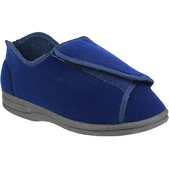 Mirak Ladies Fife Touch Fastening Textile Bootie Slipper Navy