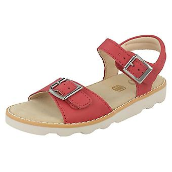 Girls Clarks Casual Strapped Sandals Crown Bloom - Pink Leather - UK Size 10F - EU Size 28 - US Size 10.5M