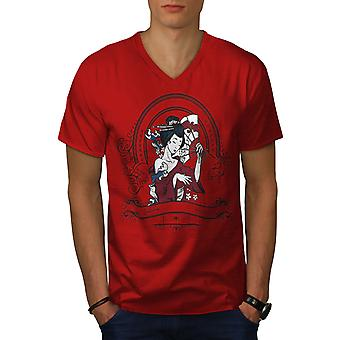 Girl Japan Woman Men RedV-Neck T-shirt | Wellcoda