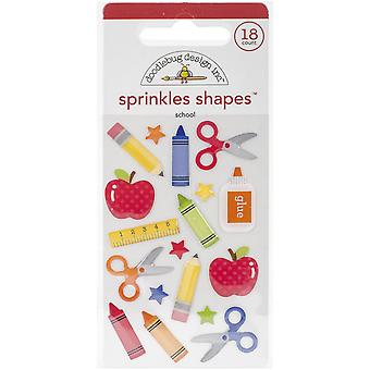 School Sprinkles Glossy Enamel Stickers-School Shapes