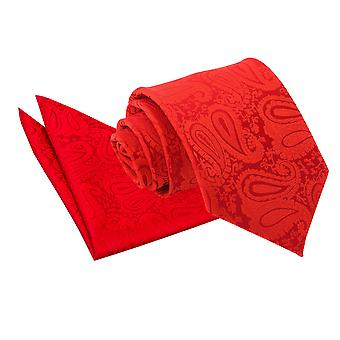 Red Paisley Tie & Pocket Square Set