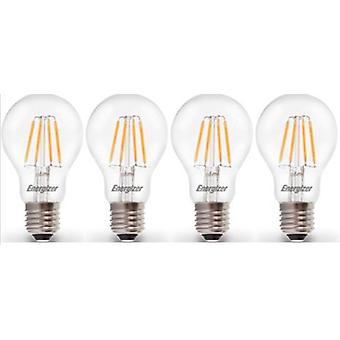4 X Energizer LED Filament GLS Light Bulb Lamp Vintage ES E27 Clear 4.5W = 40W ES E27 Cap [Energy Class A+]
