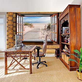 Tapet - stranden uden for vinduet