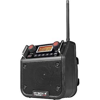 PerfectPro Mybox 2 FM Workplace radio AUX, FM splashproof, dustproof, shockproof Black
