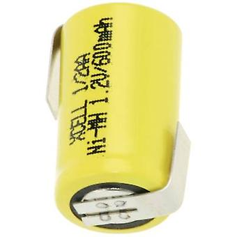 XCell X1/2AA600-LF Non-standard battery (rechargeable) 1/2 AA Z solder tab NiMH 1.2 V 600 mAh