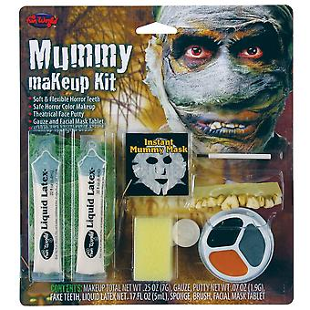 Halloween Mummy Make-Up Kit With Flexible Teeth, Face Putty & Gauze Facial Mask