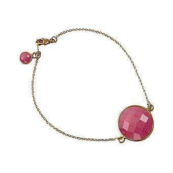 Gemshine - Damen - Armband - Vergoldet - Rubin - Rot - Facettiert - 19 cm