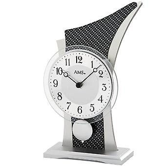 AMS table clock pendulum clock Black/Silver quartz clock with pendulum wooden cabinet Carbonstyle mineral glass