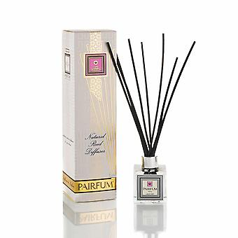 Natural Reed Diffuser - Long-lasting & Healthy - Beautiful Perfumes that Compliment You - Fragrances for 3 - 5 months (100 ml) - by PAIRFUM - Perfume: Pink Lavender - with Black Reeds - Cube Shaped Glass