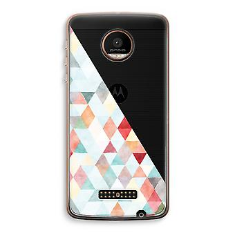 Motorola Moto Z Force Transparent Case (Soft) - Coloured triangles pastel