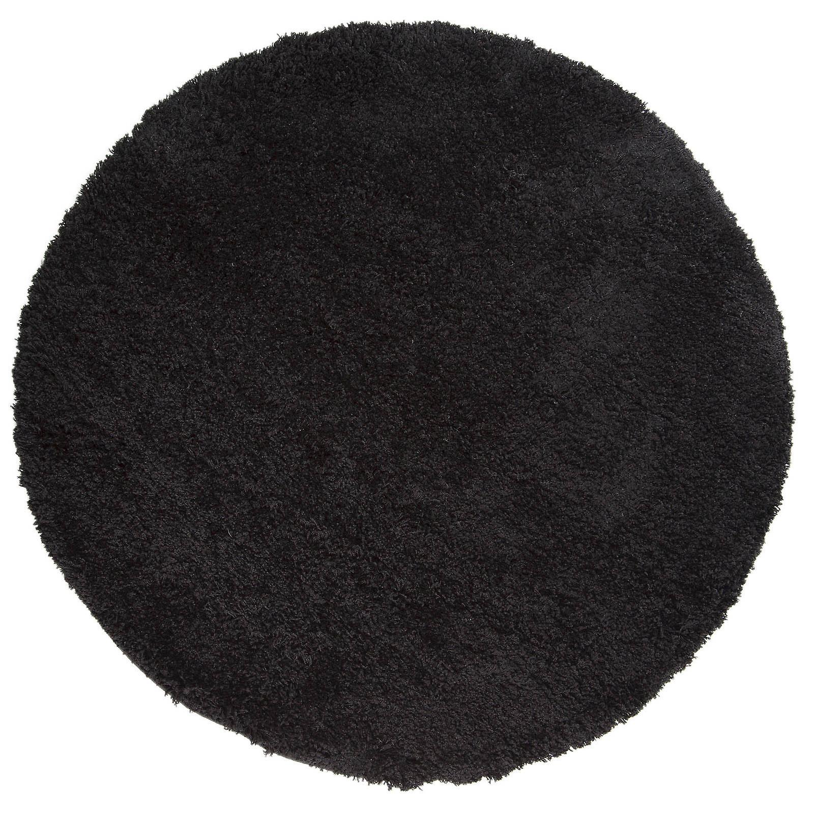 Cariboo Shaggy Circle Rugs In noir