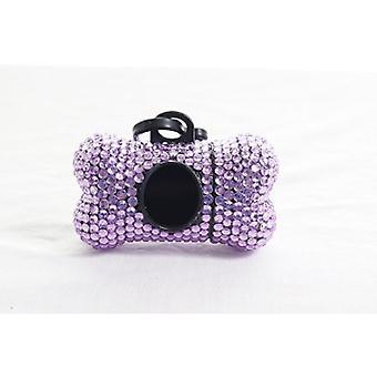 Light Purple Crystal Rhinestone Bone shaped Waste Bag Dispenser