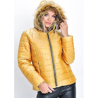 Imiteret pels foret hætte polstret Puffer Coat gul